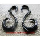 Horn Earring Tribal Carving