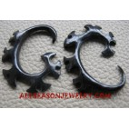 Gauges Black Horn Tribal Earring Carving