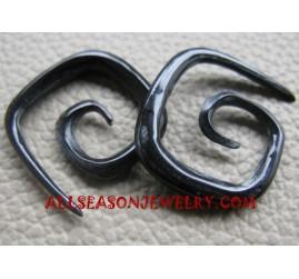 Spiral Fake Gauge Organic Black Horn Earrings Tribal  Design