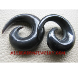 Organic Black Horn Spiral Natural Ear Tribal Fake Gauge