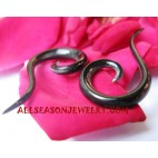 Natural Organic Black Horn Earring Fake Gauge Spiral