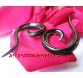 Natural Organic Black Horn Earring Fake Gauge Spiral