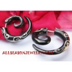 Split Gauge Black Horn Tribal Earring Tattoo