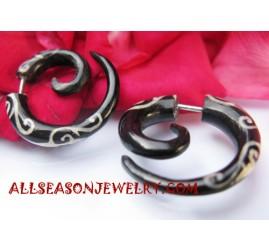 Split Gauge Black Horn Tribal Earring Tattoo
