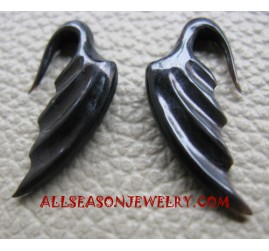 Flaminggo Hand Carved Fake Gauges Piercings Black Horn