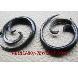 Fake Gauge  Earring Black Horn Carved Bali