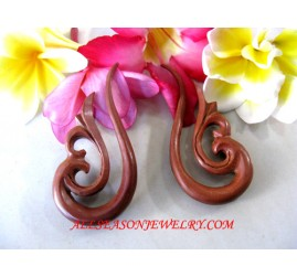 Fake Gauge Tribal Piercings Wooden Hand Carving Expander