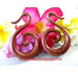 Wooden Fake Gauge Women Tribal Piercings Spiral