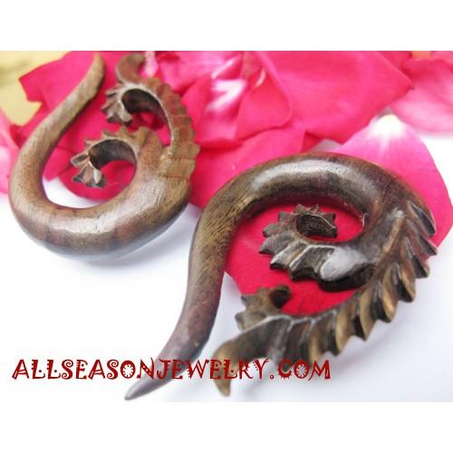 Carvings Wooden Earring Fake Gauges Sabo Wooden Piercings