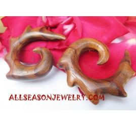 Earring Tribal Wood Hand Carving Handmade Bali