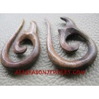 Fake Gauge Spiral Hand Carved Earrings Tribal Design