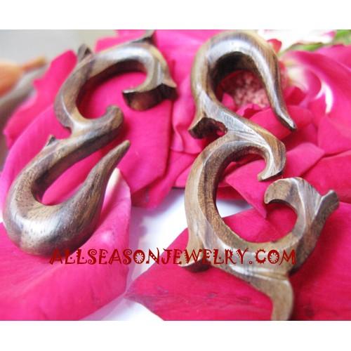 Earrings Tribal Carving