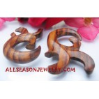 Earrings Tribal Wood