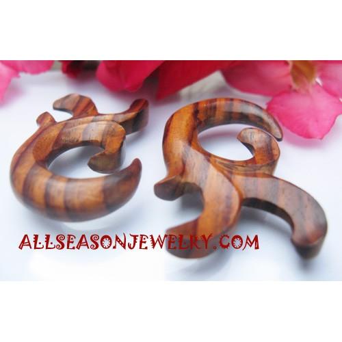 Earrings Tribal Wood