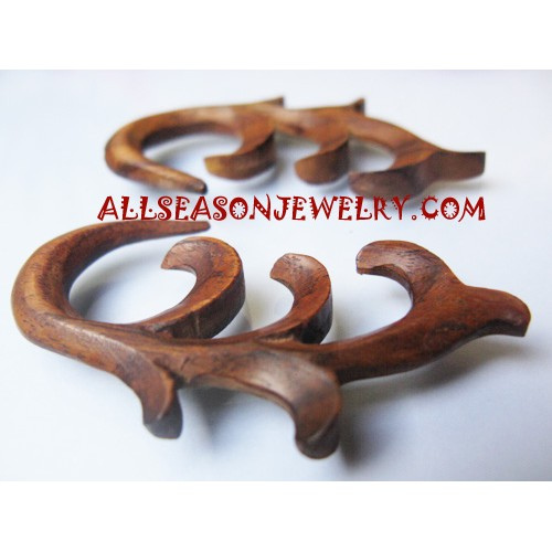Earrings Wood Carving