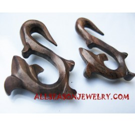 Earrings Wooden Carving
