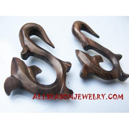 Earrings Wooden Carving