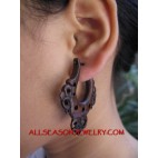 Elegant Wood Sono Carved Fake Gauge Hanger Earring Tribal