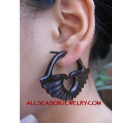Elegant Black Wooden Hand Carved Earring Fake Gauge