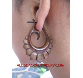 Wooden Tribal Piercing Hand Carved Drop