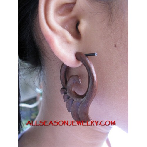 Sono Wood Piercings Carved Fake Gauges Hand Carving