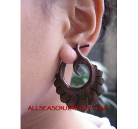 Wooden Dangle Earrings Hand Carved Tribal Fake Gauge