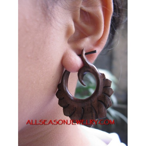 Wooden Dangle Earrings Hand Carved Tribal Fake Gauge