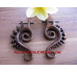 Tribal hanger Wood Sono Hand Carved Earrings Piercing Plug