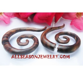 Fake Gauge Plug Spiral Tribal Earrings Piercing Wood
