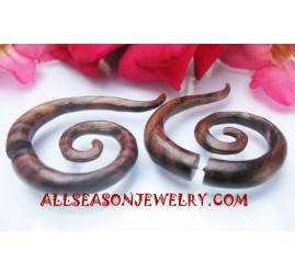 Fake Gauge Plug Spiral Tribal Earrings Piercing Wood
