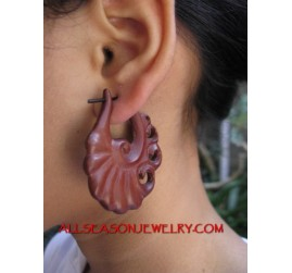 Sabo Wooden Hand Carving Tribal Piercing Dangle