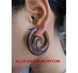 Wood Carving Hoop Earring