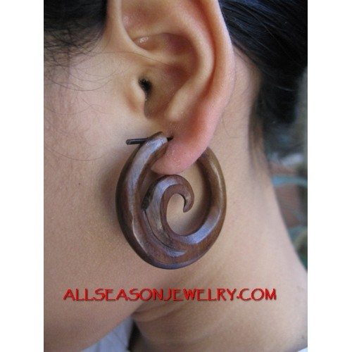 Wood Carving Hoop Earring