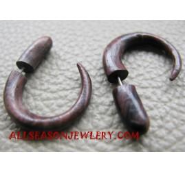 Wood Tribal Earring Piercing Fake Gauge