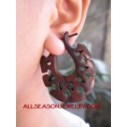 Wooden Carved Earrings Ethnic Design