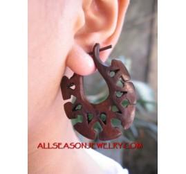 Wooden Carved Earrings Ethnic Design