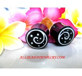 Tribal Earrings Handmade Resin Bone Plugs