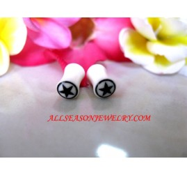 White Tribal Earring