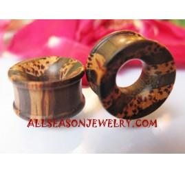 Earrings Tribal Plugs Wooden Palm Tree