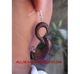 Wood Carved Earrings Hook
