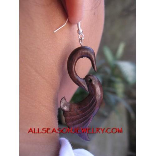 Wood Carved Earrings Hook
