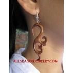 Silver Hook Wood Earring