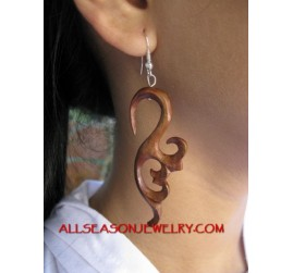 Silver Hook Wood Earring