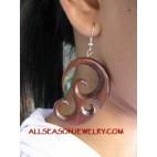 Carved Wooden  Earring Tribal Design Hook