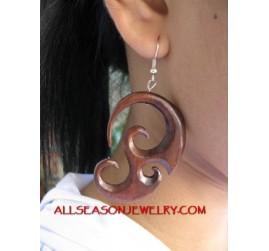 Carved Wooden  Earring Tribal Design Hook