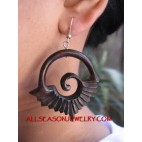 Exotic Hand Carving Wood Tribal Earrings Hooked Design