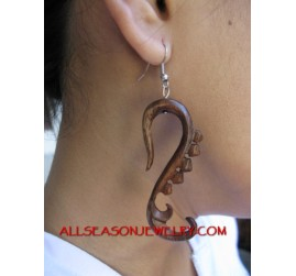 Wood Carving Earring Organic