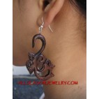 Wooden Earring Tribal Carved