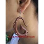 Ladies Wood Carved Earrings Bali Design Hooked