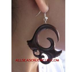Wood Earrings Carved Silver Hooked